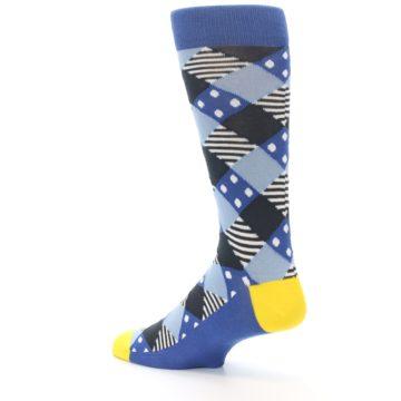 Image of Blue Dark-Grey White Diamond Men's Dress Socks (side-2-back-14)