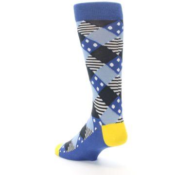 Image of Blue Dark-Grey White Diamond Men's Dress Socks (side-2-back-15)