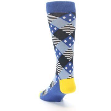 Image of Blue Dark-Grey White Diamond Men's Dress Socks (side-2-back-16)