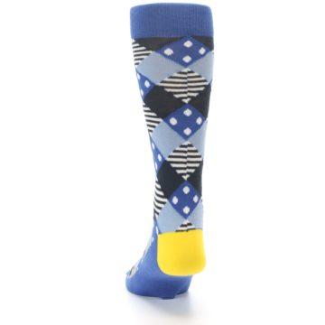 Image of Blue Dark-Grey White Diamond Men's Dress Socks (back-17)