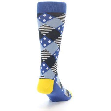 Image of Blue Dark-Grey White Diamond Men's Dress Socks (side-1-back-20)