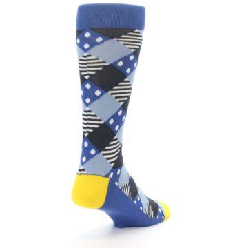 Image of Blue Dark-Grey White Diamond Men's Dress Socks (side-1-back-21)