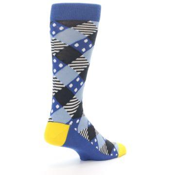 Image of Blue Dark-Grey White Diamond Men's Dress Socks (side-1-back-22)