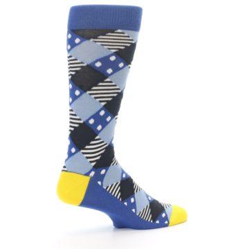 Image of Blue Dark-Grey White Diamond Men's Dress Socks (side-1-23)
