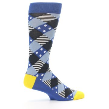 Image of Blue Dark-Grey White Diamond Men's Dress Socks (side-1-24)