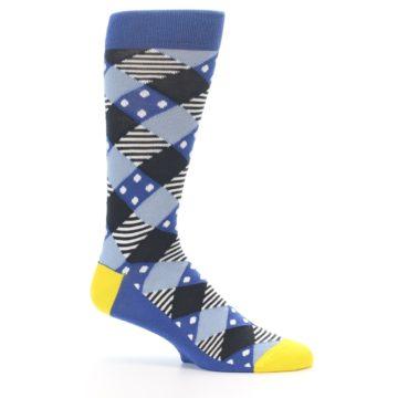 Image of Blue Dark-Grey White Diamond Men's Dress Socks (side-1-25)