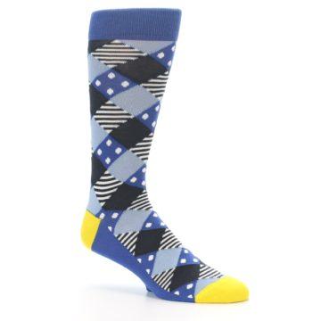 Image of Blue Dark-Grey White Diamond Men's Dress Socks (side-1-26)