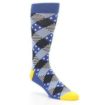 Image of Blue Dark-Grey White Diamond Men's Dress Socks (side-1-27)