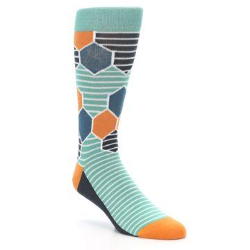 Teal Hexagon Pattern Socks - Statement Sockwear