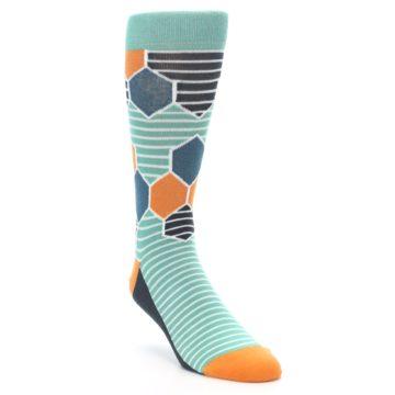 Image of Teal Orange Hexa Stripe Men's Dress Socks (side-1-front-02)