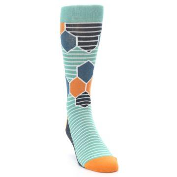 Image of Teal Orange Hexa Stripe Men's Dress Socks (side-1-front-03)