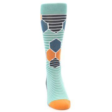Image of Teal Orange Hexa Stripe Men's Dress Socks (front-04)