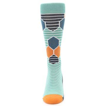 Image of Teal Orange Hexa Stripe Men's Dress Socks (front-05)