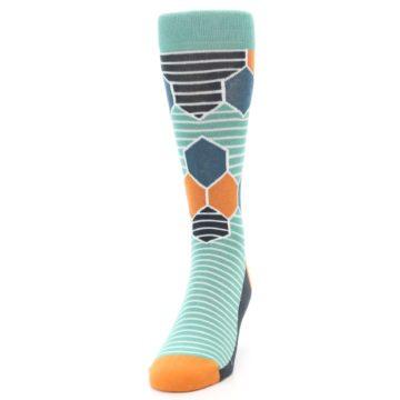 Image of Teal Orange Hexa Stripe Men's Dress Socks (side-2-front-06)