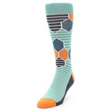 Image of Teal Orange Hexa Stripe Men's Dress Socks (side-2-front-07)