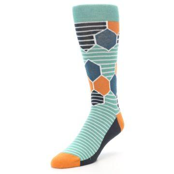 Image of Teal Orange Hexa Stripe Men's Dress Socks (side-2-front-08)