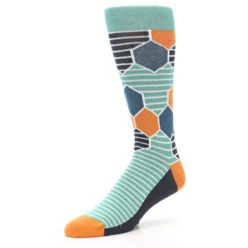 Image of Teal Orange Hexa Stripe Men's Dress Socks (side-2-09)