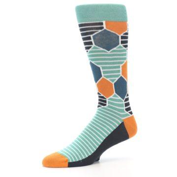 Image of Teal Orange Hexa Stripe Men's Dress Socks (side-2-10)