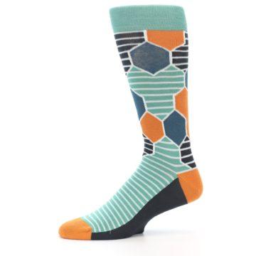 Image of Teal Orange Hexa Stripe Men's Dress Socks (side-2-11)