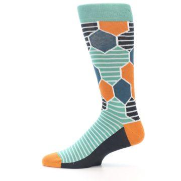 Image of Teal Orange Hexa Stripe Men's Dress Socks (side-2-12)