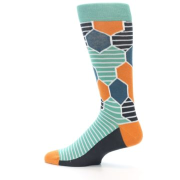 Image of Teal Orange Hexa Stripe Men's Dress Socks (side-2-13)