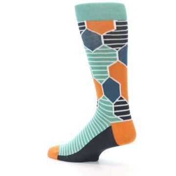 Image of Teal Orange Hexa Stripe Men's Dress Socks (side-2-back-14)