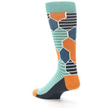 Image of Teal Orange Hexa Stripe Men's Dress Socks (side-2-back-15)