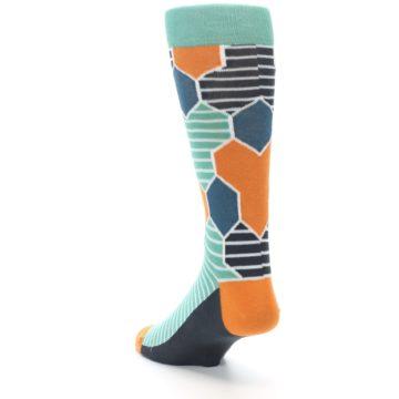 Image of Teal Orange Hexa Stripe Men's Dress Socks (side-2-back-16)