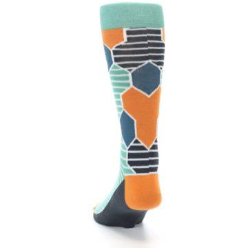 Image of Teal Orange Hexa Stripe Men's Dress Socks (back-17)