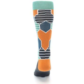 Image of Teal Orange Hexa Stripe Men's Dress Socks (back-18)