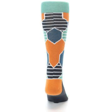 Image of Teal Orange Hexa Stripe Men's Dress Socks (back-19)
