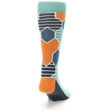 Image of Teal Orange Hexa Stripe Men's Dress Socks (side-1-back-20)