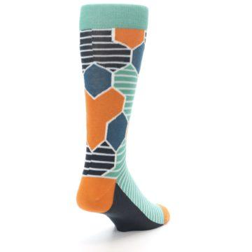 Image of Teal Orange Hexa Stripe Men's Dress Socks (side-1-back-21)