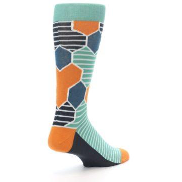 Image of Teal Orange Hexa Stripe Men's Dress Socks (side-1-back-22)