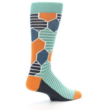 Image of Teal Orange Hexa Stripe Men's Dress Socks (side-1-23)