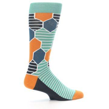 Image of Teal Orange Hexa Stripe Men's Dress Socks (side-1-24)