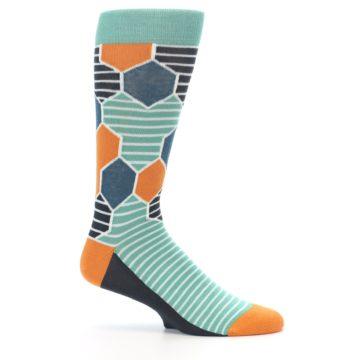 Image of Teal Orange Hexa Stripe Men's Dress Socks (side-1-25)