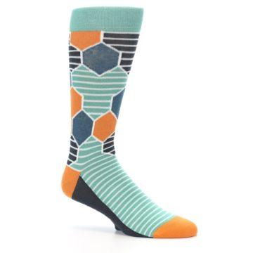 Image of Teal Orange Hexa Stripe Men's Dress Socks (side-1-26)