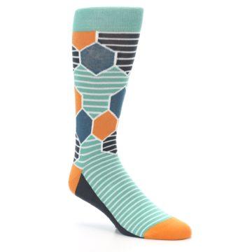 Image of Teal Orange Hexa Stripe Men's Dress Socks (side-1-27)