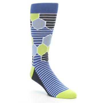 Blue Hexagon Pattern Socks - Statement Sockwear