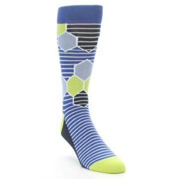 Image of Blue Lime-Green Hexa Stripe Men's Dress Socks (side-1-front-02)