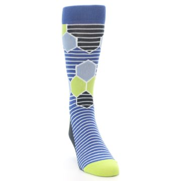 Image of Blue Lime-Green Hexa Stripe Men's Dress Socks (side-1-front-03)