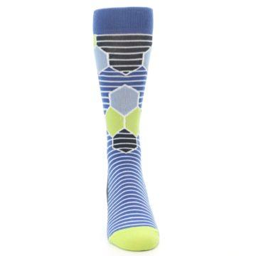 Image of Blue Lime-Green Hexa Stripe Men's Dress Socks (front-04)