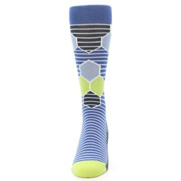 Image of Blue Lime-Green Hexa Stripe Men's Dress Socks (front-05)