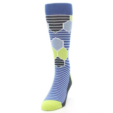 Image of Blue Lime-Green Hexa Stripe Men's Dress Socks (side-2-front-06)