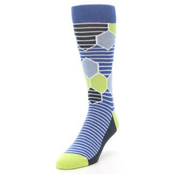 Image of Blue Lime-Green Hexa Stripe Men's Dress Socks (side-2-front-07)