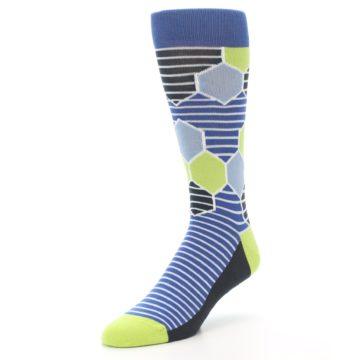 Image of Blue Lime-Green Hexa Stripe Men's Dress Socks (side-2-front-08)