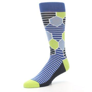 Image of Blue Lime-Green Hexa Stripe Men's Dress Socks (side-2-09)