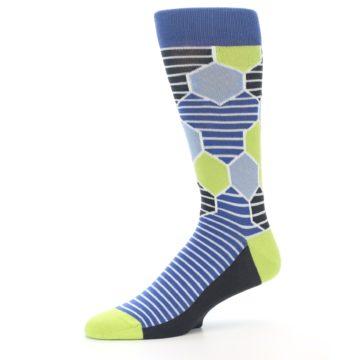 Image of Blue Lime-Green Hexa Stripe Men's Dress Socks (side-2-10)