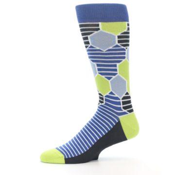 Image of Blue Lime-Green Hexa Stripe Men's Dress Socks (side-2-11)